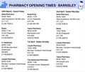 Pharmacy opening times easter 2018